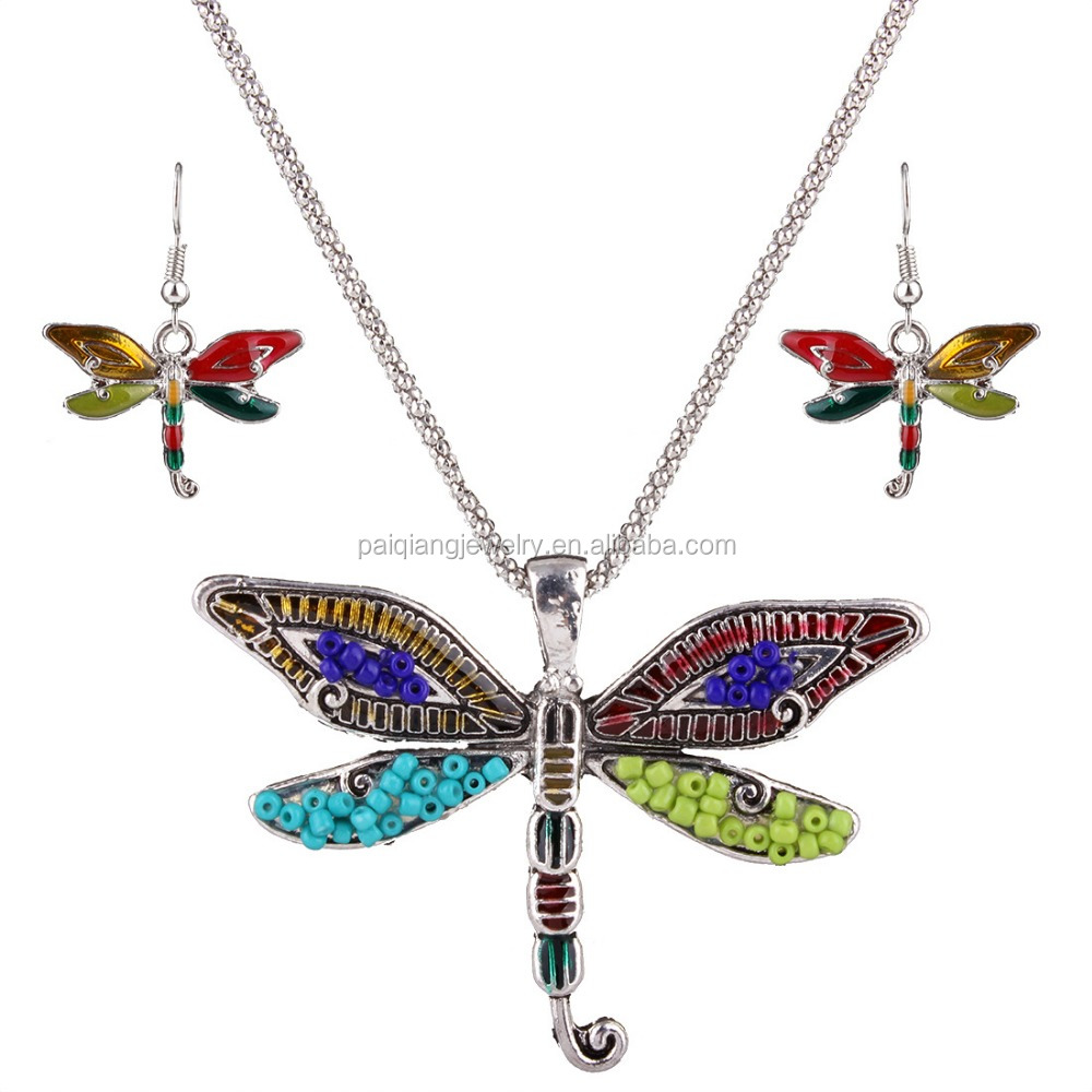Latest design bohemian insect style colored bead dragonfly necklace and earring set