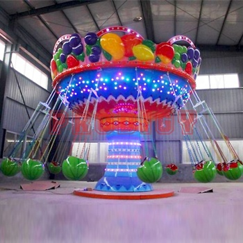 Factory cheap amusement park rides outdoor swing carousel ride 16 seats fruit flying chair watermelon flying chair for sale