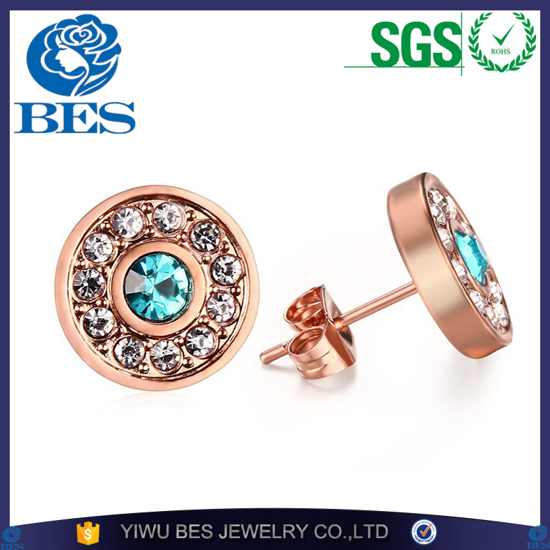 Woman's Rose Gold Plated Stud Earrings Brinco Vintage Round Blue Rhinestones Weeding Earrings For Women Fashion Jewelry