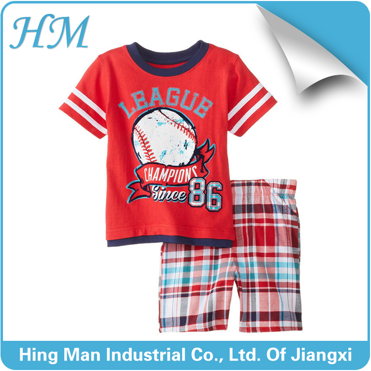 2016 high quality wholesale cheap price fashion baby boy clothes 100% cotton set suits in summer.