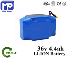 10S2P 4.4Ah 158Wh Hoverboard Li-Ion Battery Pack,18650 36V 4400Mah Lithium Li Ion Battery