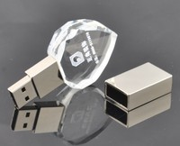 2016 hot selling crystal glass USB Flash Drives with led light