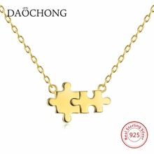 New Design Vogue Beautiful Puzzle 925 Sterling Silver 14K Gold Pendant Necklace