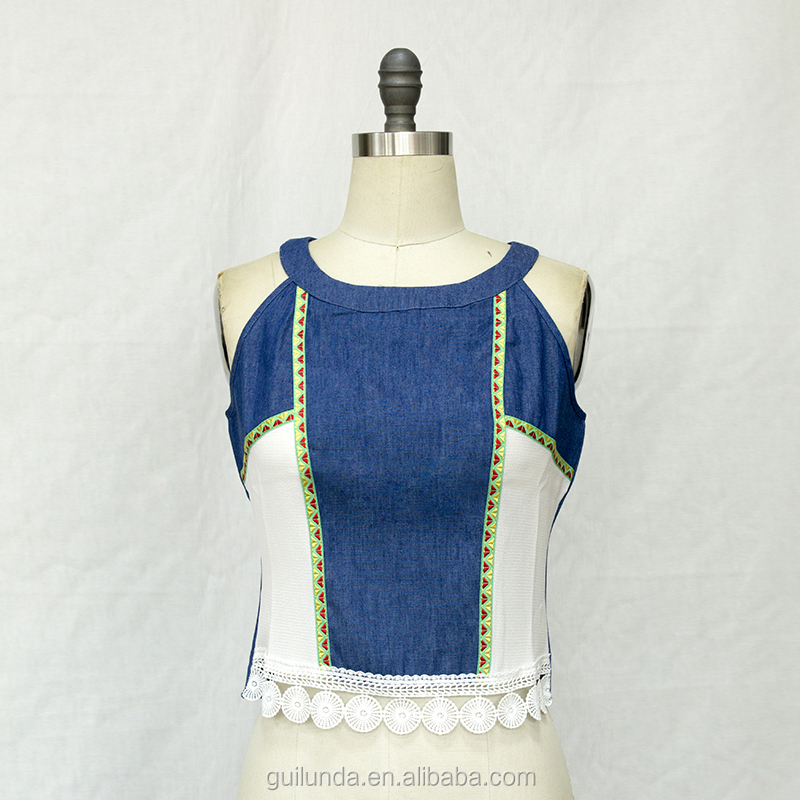 Fashion ladies latest fashion jeans embroider patchwork chiffon tank top