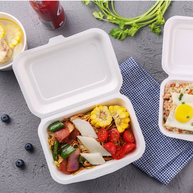 Disposable clamshell hinged box container biodegradable bagasse box