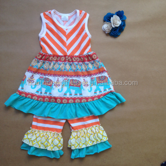 Hot sale elephant outfit lovely lovely girls sleeveless summer clothing set wholesale clothing distributors