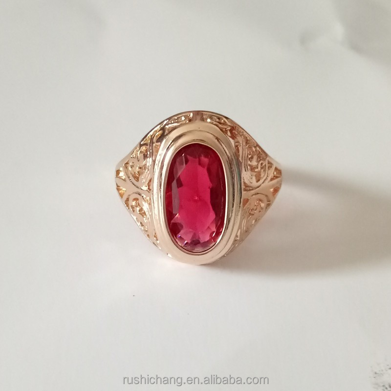 585 Gold Plated Jewelry Women Gold Ring Oval Red Natural Stone Girl Vintage Jewelry Ring Fashion Wedding Infinity Rings