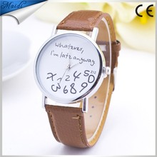 China Alibaba Whatever I am late anyway Watch Fashion Women Ladies Leather Letters Quartz Watches Casual Wrist Watch LW026