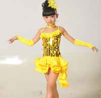 Factory wholesale large size kids stage costumes latin dance wear for gilrs
