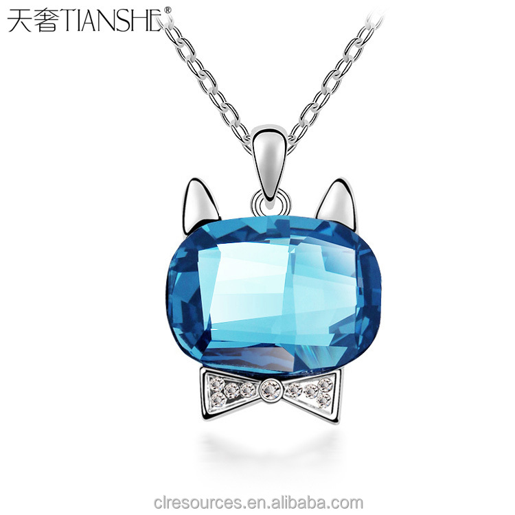 2016 Fashion Gemstone Jewelry Wholesale Aquamarine Crystal Kitty Rhinestone Pendant Platinum Plated Necklace