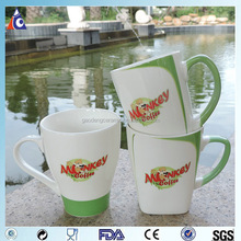 Promotional coffee cup with green handle,mug porcelain