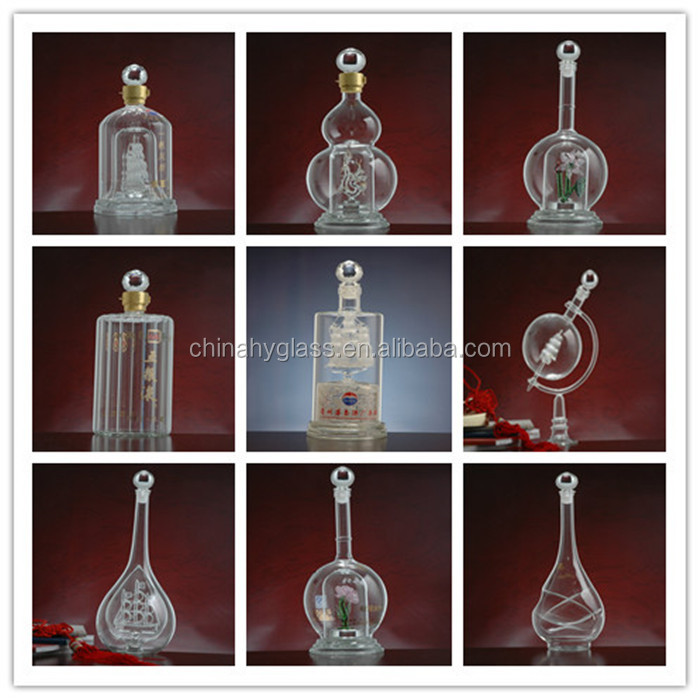 750ml classical round cork glass bottles for alcohol,clean and bright wine Bottle