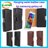 Luxury style hanging waist and left open design leather flip case for samsung galaxy s5