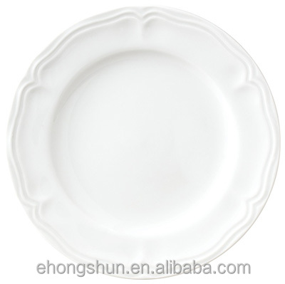 "Wholesale White 7.5"" & 10.5"" porcelain embossed dinner plates with thread rim"