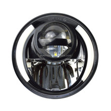 "7"" H6024/6014 Amber LED Angel Eye Ring Halo Headlight Blinker Turn Signal Light 7inch Round Projector Headlamp"