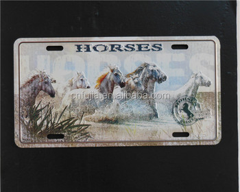 Vintage decorative wall hanging tin license plate wall poster.