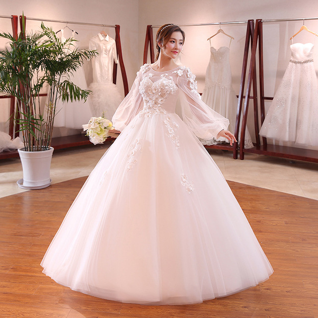 2018 Luxury Flower Ball Wedding Dresses Royal Bridal Gowns Lace Up Back Long Sleeves Wedding Dress