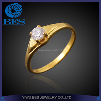 Latest Arrival Jewelry 2 Gram Gold Zircon Ring for Women One Stone Ring Designs