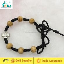 Olive wood beads knotted thread rosary bracelet