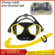 Advanced diving protective silicone mask and snorkel set with Plastic box