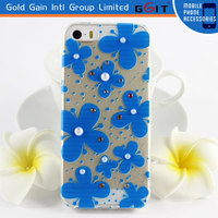 Transparent Flower With Peals of TPU Case for iPhone 5, Silk Pattern TPU Case With Crystal for iPhone 5