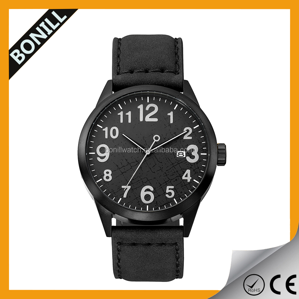 2015 Latest black color Watch Cycling Leather Wrist Accessory for Men