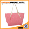 Pink color paper straw tote bag with women shopping shoulder crochet bag