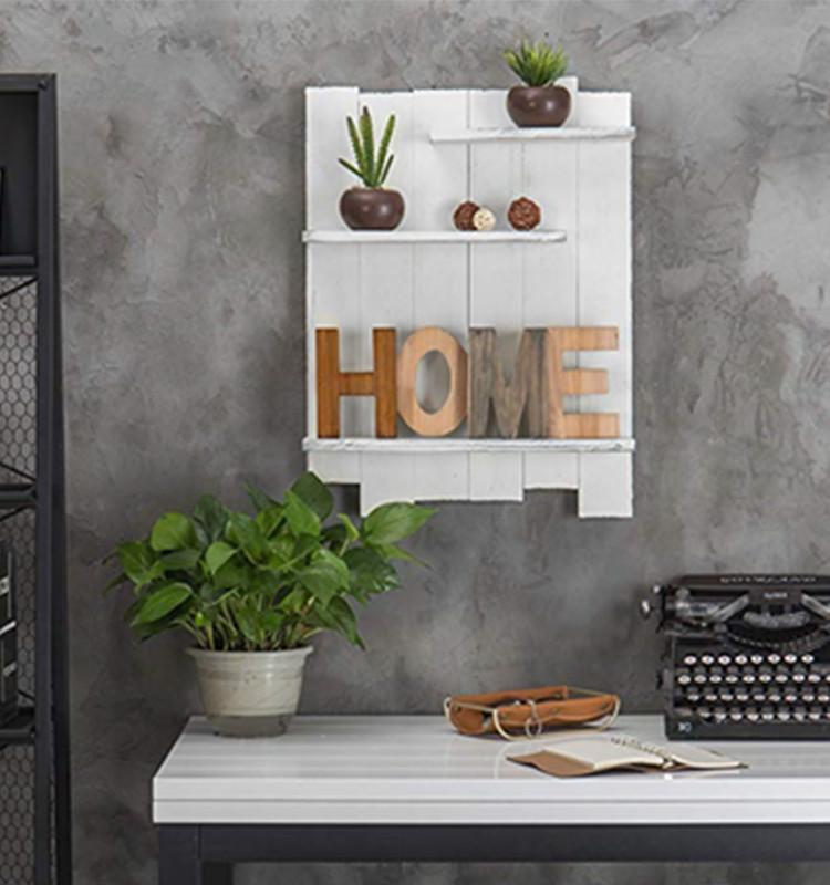 Rustic Wooden Wall Shelf Home Decor