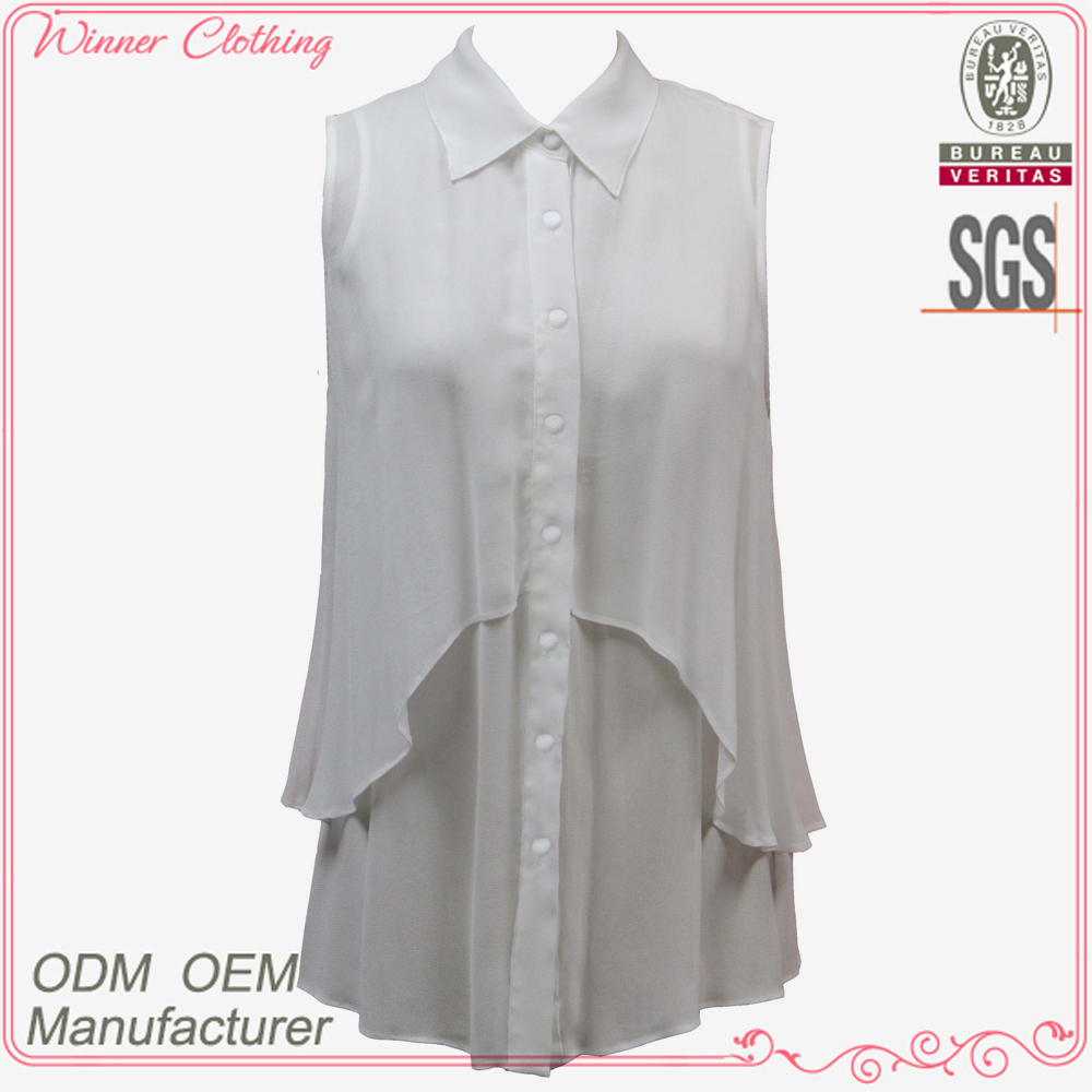 fat women chiffon blouse with foldable collar and double tiers