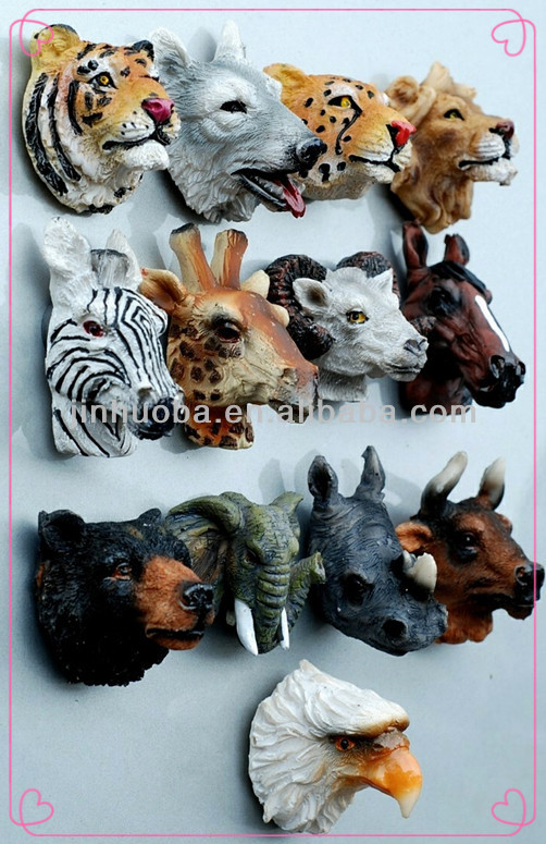 Polyresin animal head 3D fridge magnet