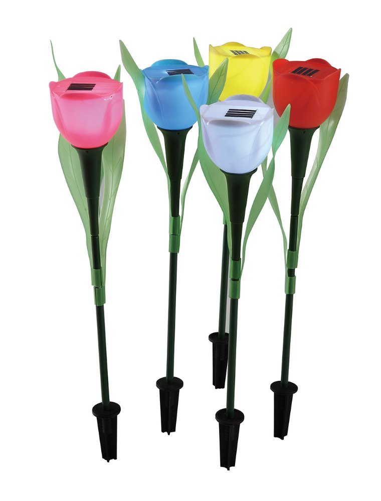 plastic flower solar spike garden light