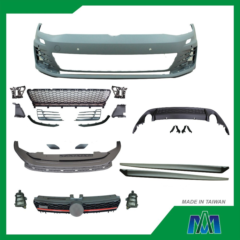 FRONT BUMPER SIDE SKIRT GRILLE REAR SPOILER FOG LAMP REPLACEMENT CAR BODY KIT FOR VW GOLF 7 2013 GTI LOOK