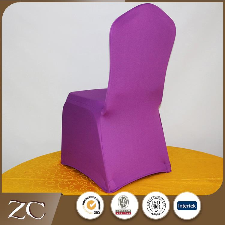 Good quality custom hotel 300gsm purple elastic chair covers wedding decoration