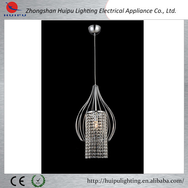 chrome color caged Iron caracole pendant lamp with crystal