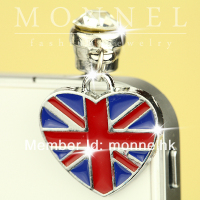 ip233-1 Monnel 2015 Custom Designed Alloy Blue Red British Flag Love Heart Cell Phone Headphone Anti Dust Plug Cover Charm