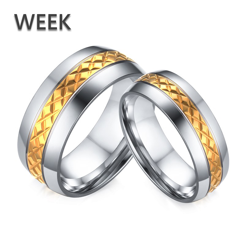 Week Jewelry Valentine's Day Gift Knurling Silver Gold Stainless Lovers Couple Rings