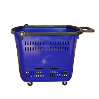Supermarket Plastic Rolling Baskets Trolley With Wheels molds