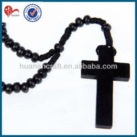 black wood cord rosary wooden 6mm round bead