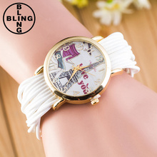 >>>Retro Simple Fashion Rope Weaving Watch Leather Rose flower leather watches For Women