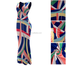 Wholesale Clothing Women Geometric design printing Ruffle Maxi Long Dress deep v One Piece party Dress