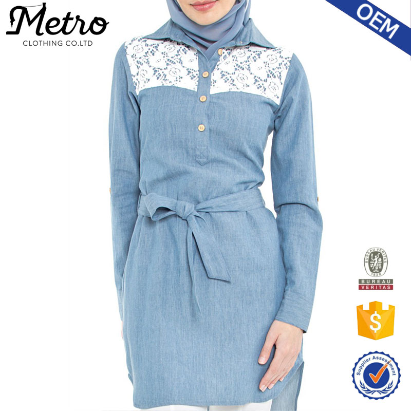 2016 wholesale Custom-made denim long shirts muslim women