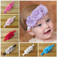 Deshine Baby handmade Head Hair Accessories Triple Pearl Crystal Chiffon Flower Combination Elastic Headbands ZX1644