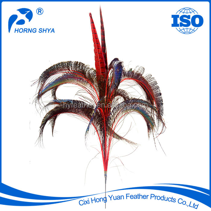 Prime High Quality E-41 Dyed Pheasant-Peacock Stem Wholesale Feather Picks