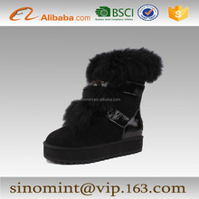 2014 hot sale sexy rabbit hair women and girl half winter snow boots