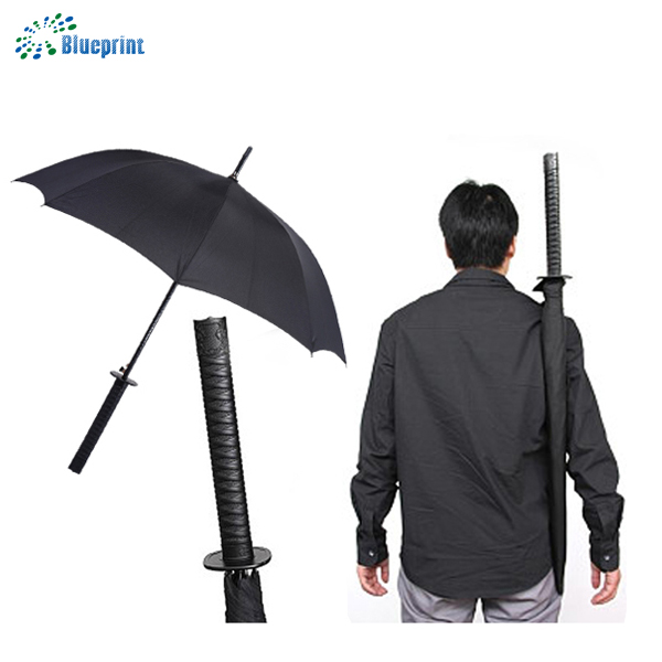 Japanese 23 inches polyester custom print straight samurai sword katana umbrella with sword shaped handle in black color