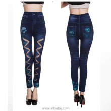 Sexy impresión de Loto Hollow cut cadena forma skinny Slim fit strechy denim Leggings Medias (Tamaño: M, Color: Bluek)