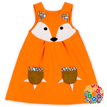Sleeveless Children Cotton Frocks Designs Lovely Fox Print Baby Dress New Model Casual Dresses With Pockets