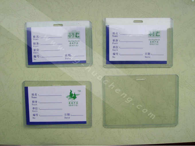 plastic soft pvc work id card holder with lanyard