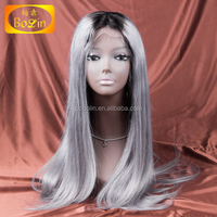 Brazilian Human Hair Silk Straight dark root Grey Color Brazilian Hair Lace Front Wig