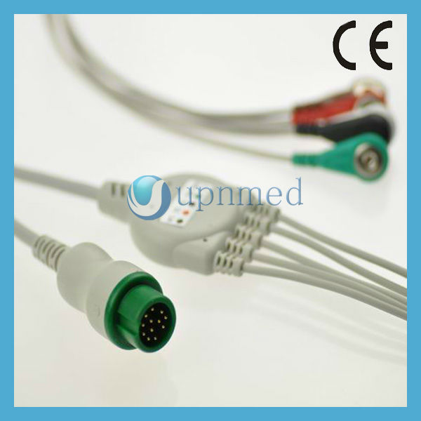 Mindray T5 3 lead ECG Cable with snap,AHA